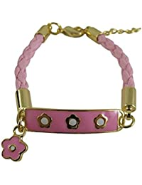 "<span class=""a-offscreen"">[Sponsored]</span>Gold Finish Pink White Enamel Flower Girls Braided Cord Charm Bracelet, 4+1"" Extender"