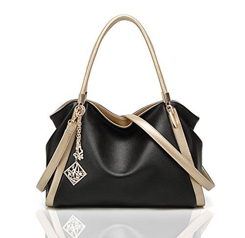 Women Tote Hobo Handbag Soft PU Leather Crossbody Shoulder Bag Satchel and Purse for Ladies(Black) (Handbag Soft)