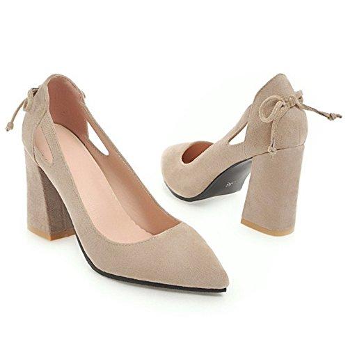 32 TAOFFEN Spring Heel Pumps Shoes Block Women Beige qR4W7q0