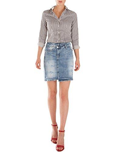 jeans femme mi Bleu cuisse jupe Fraternel longueur 5ZnxqFA