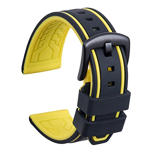 ch Strap Replacement Rubber Watch Band Waterproof Bicolor Men Women - 20, 22, 24, 26mm Watch Bracelet with Brushed Stainless Steel Buckle Black (22mm, Black & Yellow) ()