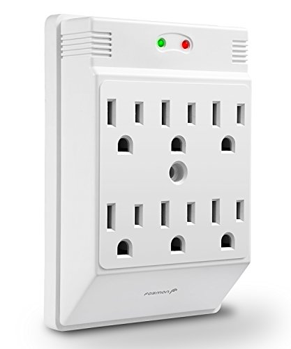 6 Outlet Wall Mount Surge Protector, Fosmon ETL Listed 700 Joules, 15A 125VAC 60Hz 1875Watts Wall Outlet Adapter - White (Outlet Seven Surge)