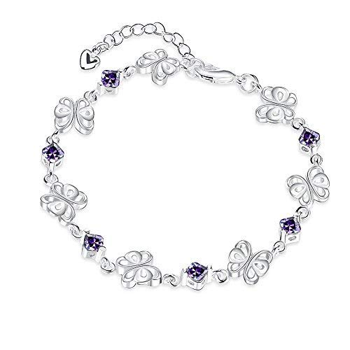 - Nocary Valentine`s Day Gift Purple Crystal Butterfly Adjustable Lobster Clasp Link Chain Bangle Bracelet for Women Girls