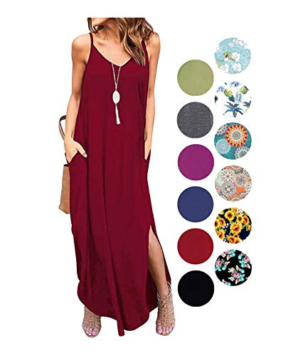 LIYOHON Women's Summer Casual Loose Dress Beach Cover Up Plain Print Long Cami Maxi Dresses with Pocket Wine Red-M