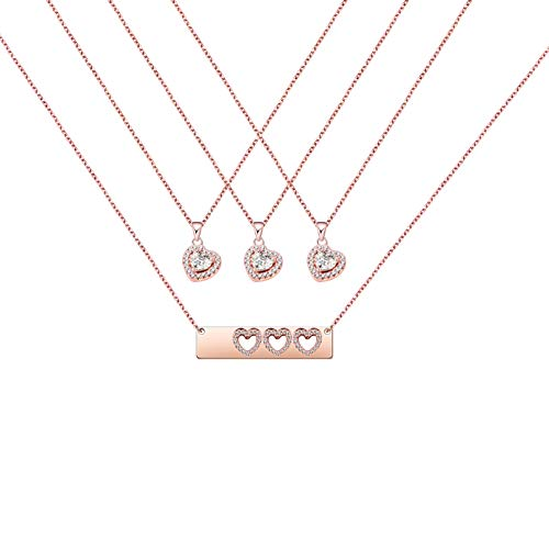 AKTAP Daughter Gifts Mother Daughter Necklace Cubic Zirconia Love Pendant Necklace (Mother and Three Daughters Necklace Set) ()
