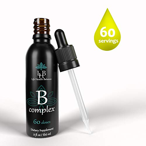 Liquid Vitamin B-Complex Drops Supplement Formulated w/All 8 B Vitamins Non GMO Vegetarian Safe Rapid Absorption, 2oz