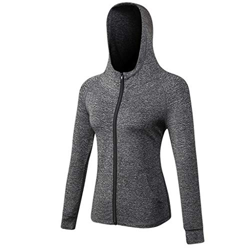 ◕‿◕Watere◕‿◕ Women Sports Yoga Coat Pure Cap Zipper Fitness Running Long Sleeve Hooded Jacket Coat Yoga Sports Jacket Gray (For Women Rain Boots Aldo)