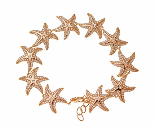 925 solid sterling silver pink rose gold plated Hawaiian sea starfish cz bracelet 7'' by Arthur's Jewelry