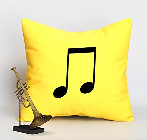 Music Note pillow case, Pillow Cover throw Pillowcase, housewarming gift, yellow canvas cushion cover, engagement present accent pillow cover, sofa pillow cover, 16x16 (Easy Halloween Crafts Third Grade)