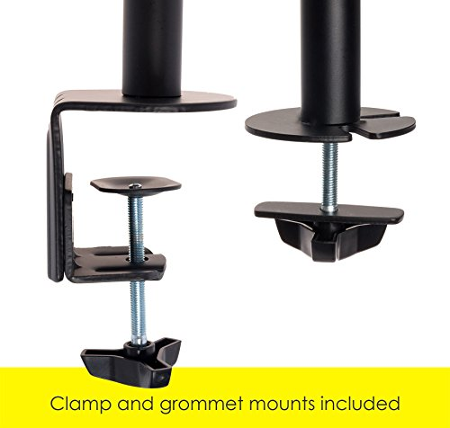 Mindful Design Dual Arm Monitor Mount - Heavy Duty Gas Spring Monitor Stand, Fits Screen Sizes 17'' to 32'' (Black) by Mindful Design (Image #4)