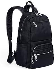 UTO Lightweight Nylon Backpack Unisex Rucksack School College Bookbag Travel Bag Shoulder Purse Black