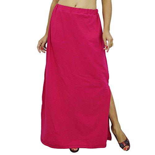 Inskirt Forro Para Sari étnico confeccionados indio Sólido Algodón enagua magenta oscuro