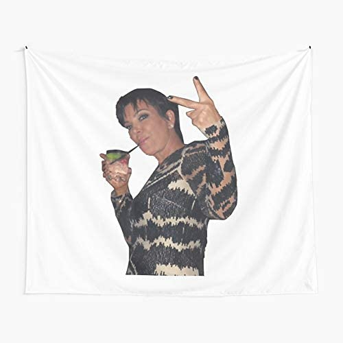 CuYatry Kris Jenner Peace Sign Boutique Tapestry Wall Hanging Tapestry Vintage Tapestry Wall Tapestry Micro Fiber Peach Home Decor 59.1X51.2 in