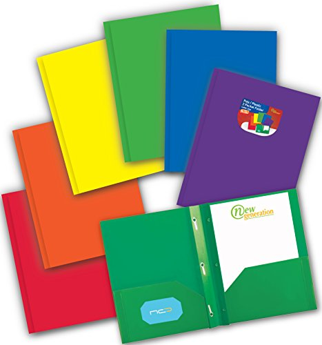 New Generation - ASSORTED 6 PACK 2 Pocket Poly/Plastic Folders WITH 3 PRONGS, Heavy Duty, Sturdy and Waterproof Folder for Office and School, with built-in slots for business cards. (MULTI COLOR) by New Generation