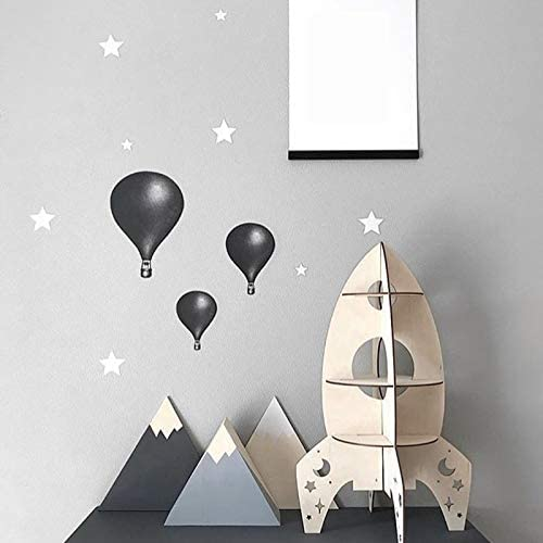 Vaorwne DIY Juguetes NóRdicos de Madera Modelo de Cohete Tridimensional para Decoraciones de Habitaciones Infantiles Estante Accesorios para el Hogar