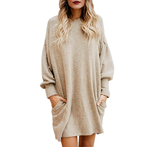 Price comparison product image Women Sweater,Haoricu Clearance Winter Fall Women O-Neck Casual Loose Long Pullover Sweater Long Sleeve Blouse With Pocket (S, Beige)