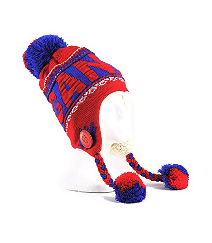 Robin Ruth - Red & Blue Canada Pom Pom Tuque With Fur