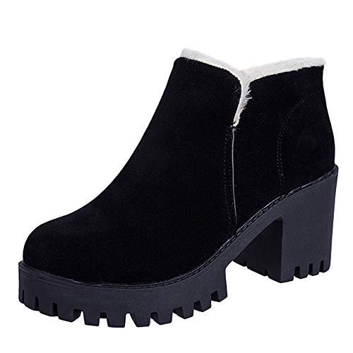 JESPER Women Block HEE Ankle Boot Flock Slip-On Velvet Lining Cozy Round Toe Shoes Black