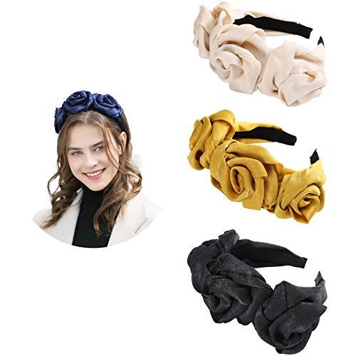 AWAYTR Cloth Flower Flock Padded Headband Spanish Vintage Style Alice Hair Band Matador Headband (Black+Beige+Ginger)
