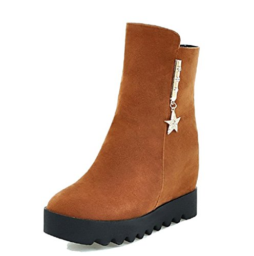 Brown Solid top Boots Women's Low Heels Zipper Suede High AgooLar Imitated qXUZvq