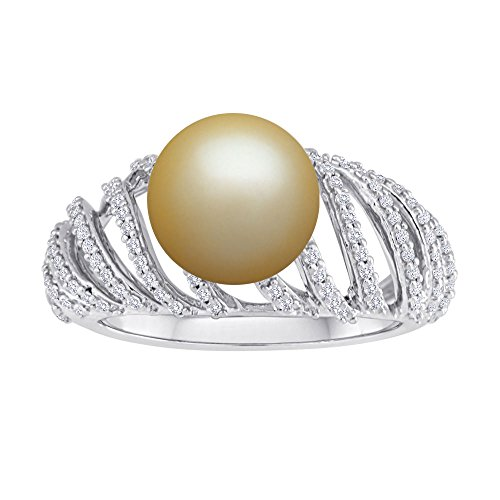 9 mm Golden South Sea Cultured Pearl and 0.4 carat total weight diamond accent Ring in 14KT White Gold