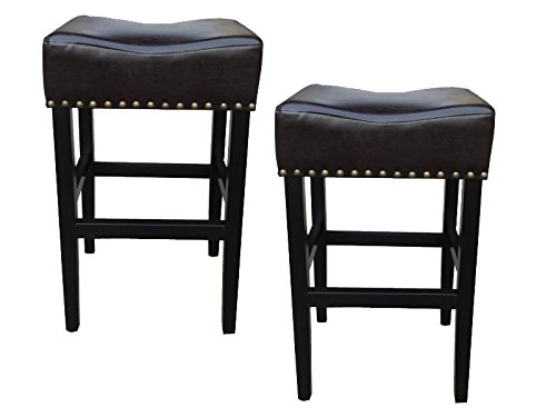 GDF Studio Chantal Bonded Leather Studded Accent Bar stools (Set of 2) (Chocolate Brown) (Bonded Stool Leather)