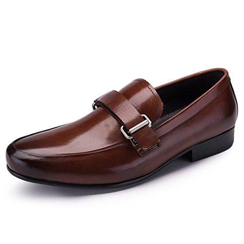 GRRONG Zapatos De Cuero De Los Hombres De Negocios Traje De Etiqueta De Piel Genuina Negro Y Marrón Brown