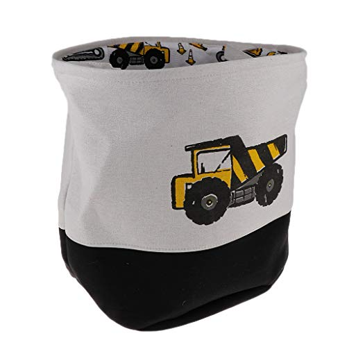 Prettyia New Cartoon Pattern Kids Toys Storage Buckets Canvas Storage Bag Laundry Bin - Dump Trucks 40x33x40cm ()
