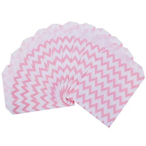 Bocotoer 50 Pieces Party Bags Wedding Candy Paper Bags Celebration Parties 5 by 7 Inches Pink
