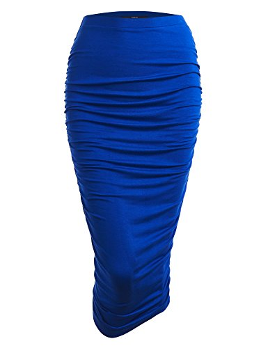 - WB1147 Womens Elegant High Waist Pencil Skirt with Side Shirring M Royal_Brite