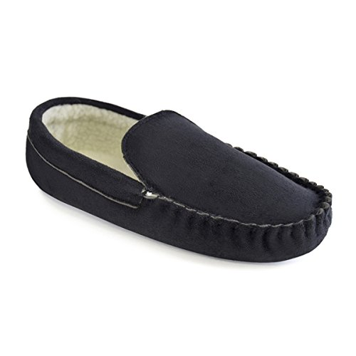 Coated Various Colours amp; Microfibre Gentlemens With Lined TPR Borg Footwear Black Sole Mens Moccasin Slippers Sizes zqP71