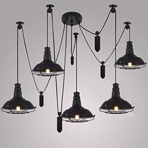 QIANG Five Light Swag Multi Light Pendant in Black