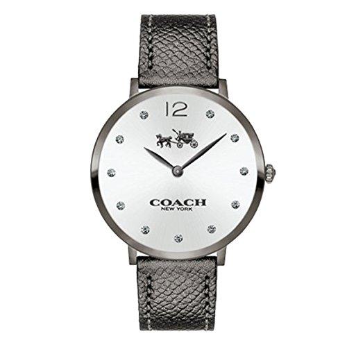 COACH Women's Slim Easton Gray Leather Strap Watch 35mm 14502686 ()