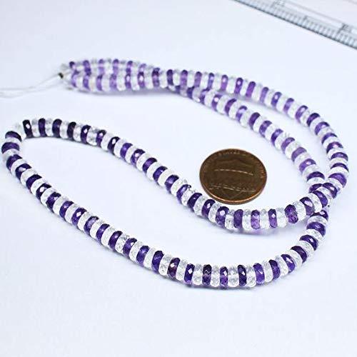 GemAbyss Beads Gemstone Shaded Multi Amethyst White Quartz Faceted Wheel Tyre Rondelle Gemstone Craft Beads Strand 18 Inch Long 5mm ()
