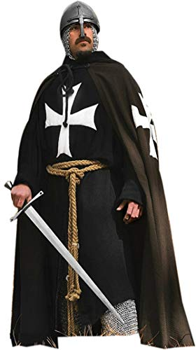 Medieval Knight Cloak Crusader Hospitaller Long Sleeve Tunic, Surcoat with Hodded Cap Size-M ()