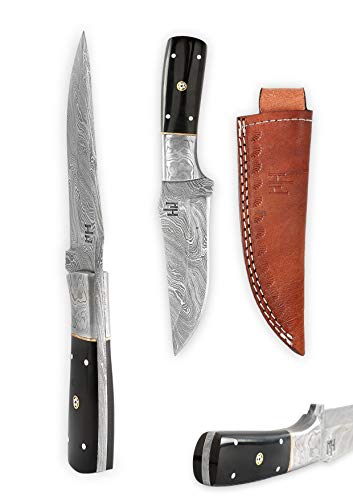 Hobby Hut HH-701, Custom Handmade 8.5 inch Damascus Steel Hunting Knife - Full Tang Fixed Blade, Buffalo Horn Handle - Leather Sheath