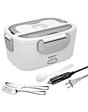 Portable Electric Lunch Box, ERAY Car Food Heater Warmer Heating with Removable 1.5L Stainless Steel Container for Home Office School, 12V & 24V/ 110V 40W Adapter (Gray)