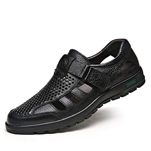CMM Men Summer Leather Close-Toe Dress Sandal Adjustable for Work Black Size 12 ()