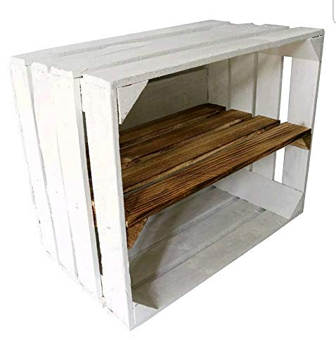 Vintage White Painted Apple Crate with Burnt wood shelf Ideal Shelving//shoe rack//storage solution