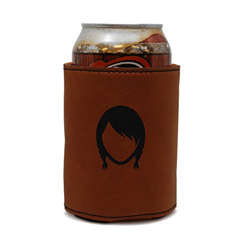 MODERN GOODS SHOP Leather Can Cooler With Braid Pigtails Engraving - Oil, Stain, and Water Resistant Beer Hugger - Standard Size Beer and Soda Can Sleeve ()