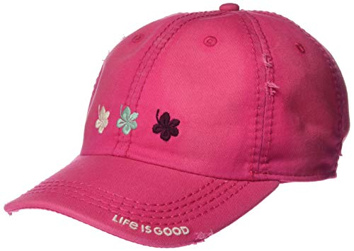 Life is Good Unisex Sunwashed Chill Cap Baseball Hat, Fiesta Pink, OS