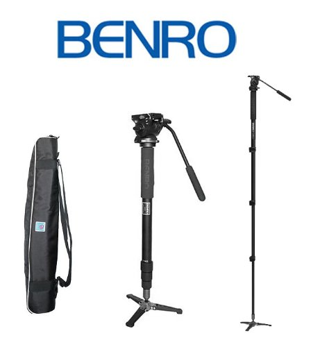 Benro A38FBS2 Video Monopod with Flip Lock Legs, S2 Head and 3 Leg Base (Black) by Benro