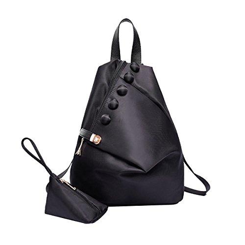 Nylon Students Waterproof Sweet Sweet Rivet Backpack School Bag,Black-OneSize