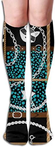 shenguang Mens en vrouwen patroon sokken lederen riem en ketting kleurrijke compressie sokken