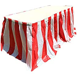 Red and White Striped Table Skirt, Carnival Style Picnic Table Skirts For Parties! (RED & WHITE, 1)