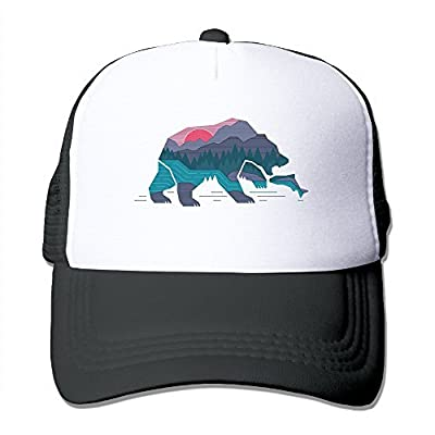 Bear California Adjustable Printing Snapback Mesh Hat Unisex Adult Baseball Mesh Cap
