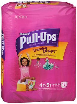 Huggies Pull-Ups Learning Designs Girls' Training Pants Size 4T-5T - 18 ct cs of 4, Pack of 3