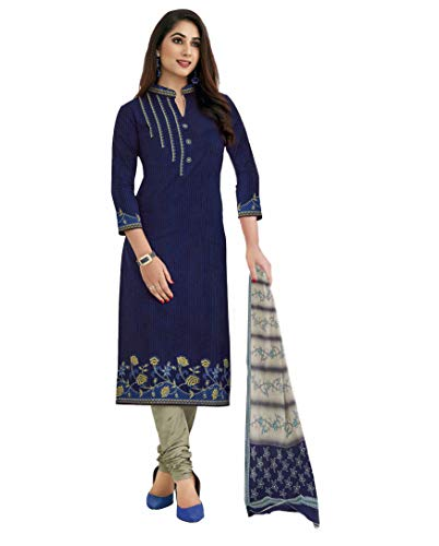 Miraan Women's Cotton Unstitched Dress Material (SGPRI1521, Blue, Free Size)