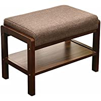 Laputa Upholstered Shoe Bench With Storage, Lightweight and Compact, Great For Entryway or Closet, Natural Wood Shoe Bench Ottoman With Padded Seat For Comfortable Seating(Nut-brown)