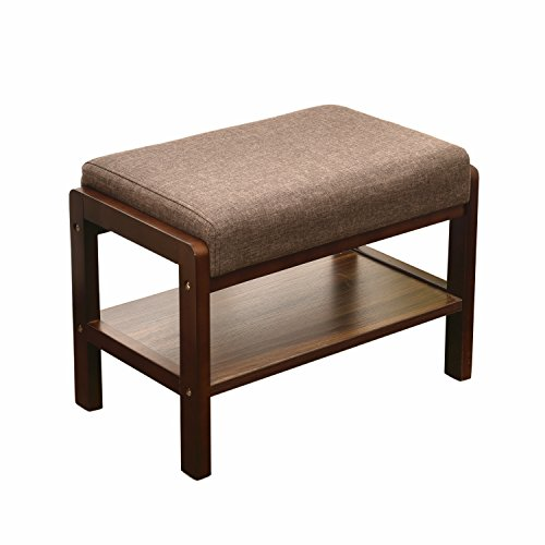 Laputa Upholstered Shoe Bench With Storage, Great For Entryway or Closet, Lightweight and Compact, Natural Oak Wood Shoe Bench Ottoman With Padded Seat For Comfortable Seating - Small Storage Bench